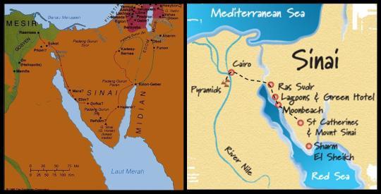 Peta perjalanan bangsa Israel melewati Gurun Sinai menuju Tanah Perjanjian (kiri). Perjalanan yan kulalui selama di Mesir dan Gurun Sinai (kanan).